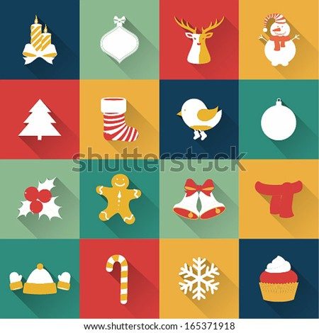 Set of Christmas and New Year objects. Vector illustration. - stock vector
