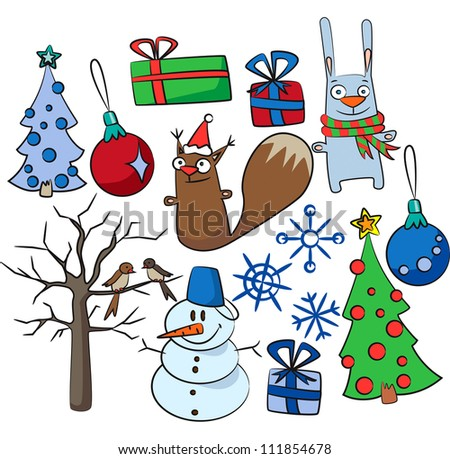 set of Christmas and New-Year's decorations - stock vector