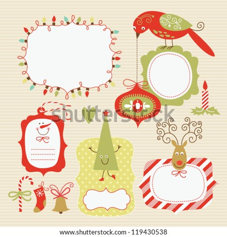 Set of Christmas and New Year's elements - stock vector