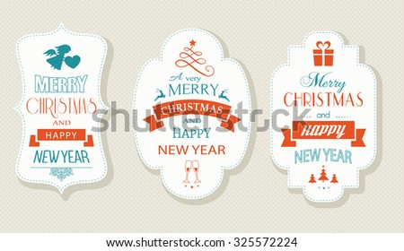 Set of Christmas and New Years labels with various Christmas symbols and the wording, Merry Christmas and Happy New Year. Designs for the festive season to come. - stock vector