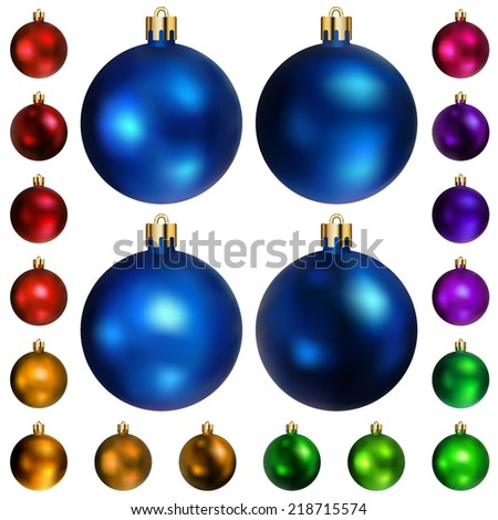Set of Christmas balls of different colors - stock vector