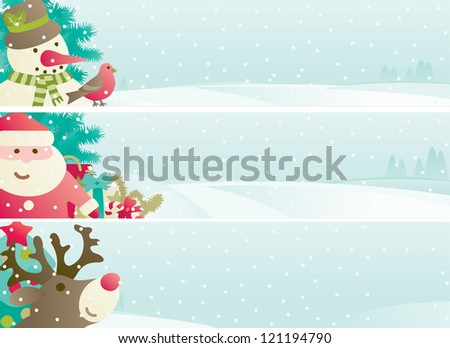 Set of christmas banner. Vector banners with Santa Claus, snowman, Red Nosed  Reindee, branches of fir tree and christmas decoration  on winter snow landscape - stock vector