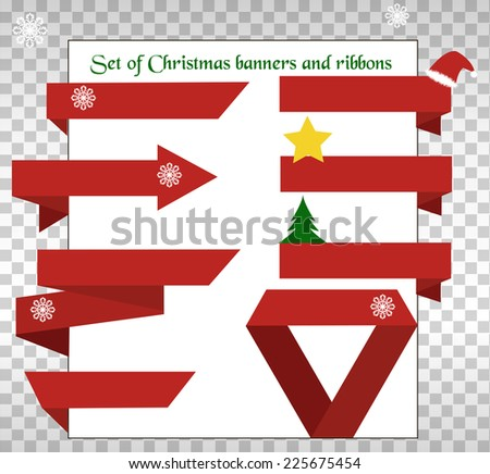 Set of Christmas banners and ribbons background, paper - stock vector
