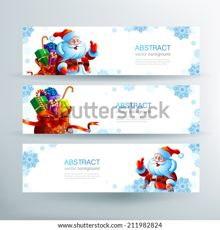 Set of christmas banners. Banner with Santa Claus. Banner with a bag of Christmas gifts. Snowflakes on a banner. Winter holiday banner. - stock vector