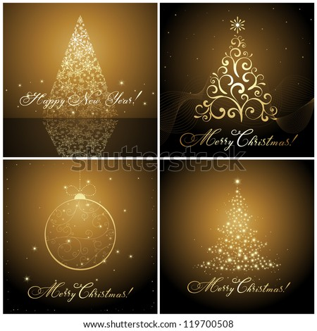 set of Christmas banners / cards with hand made calligraphic writing - stock vector