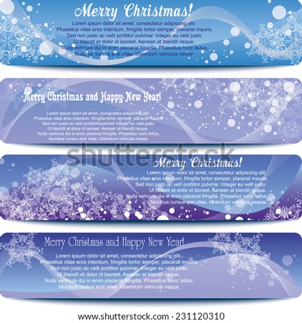 set of Christmas banners with space for text