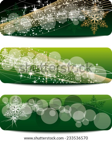 set of Christmas banners with space for text - stock vector