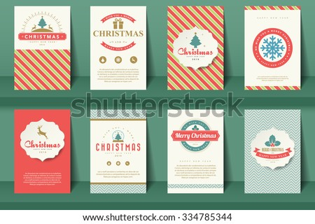 Set of  Christmas brochures in vintage style .Vector eps10 - stock vector