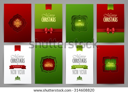 Set of christmas brochures templates. Bright vector backgrounds. - stock vector
