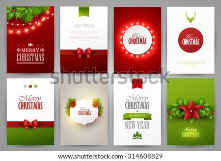 Set Christmas Brochures Templates Bright Vector Stock Vector - Brochures templates