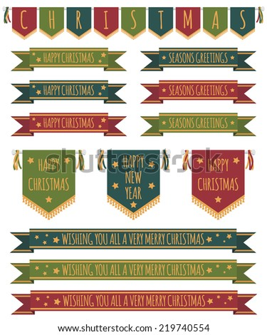 set of christmas bunting, ribbons and pennants, isolated on white - stock vector