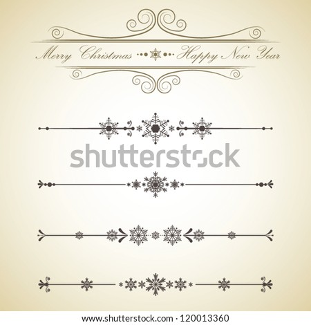 Set of Christmas Calligraphic Design Elements and page decoration - stock vector
