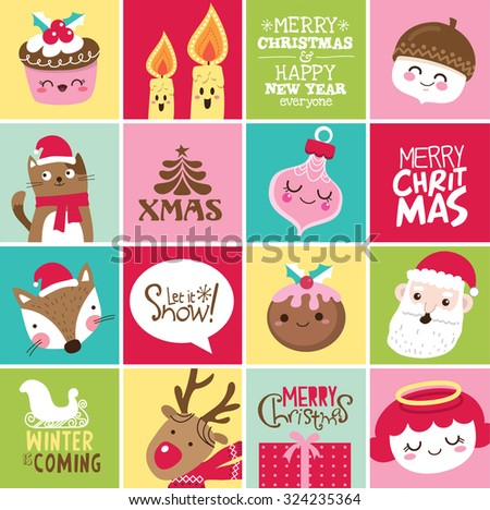 Set of Christmas card design - stock vector