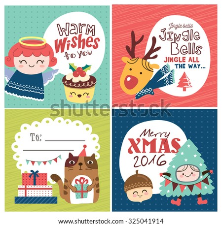 Set of Christmas card/ gift tag - stock vector