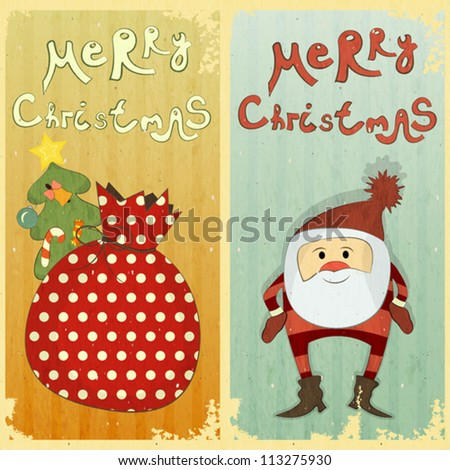 Set of Christmas card - two postcard in Retro style - vector illustration - stock vector