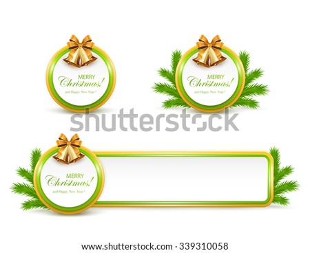 Set of Christmas cards and banner with golden bells, bow and fir tree branches on white background, illustration. - stock vector