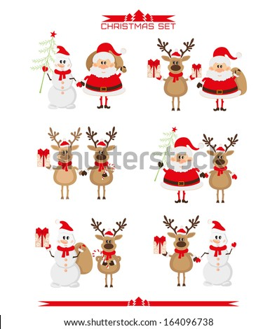 Set of Christmas characters - stock vector