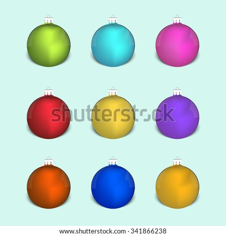 Set of christmas colored decoration balls. - stock vector