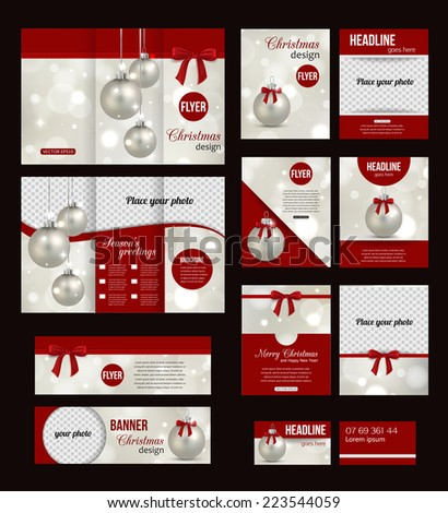 Set Christmas Corporate Business Stationery Templates Stock Vector