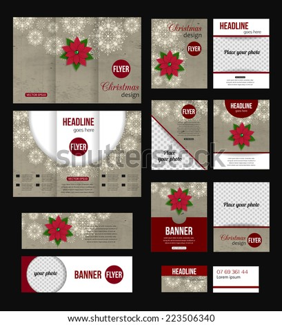 Set of Christmas corporate business stationery templates. Abstract brochure design with xmas flower poinsettia. Modern back and front flyer backgrounds. Vector illustration. - stock vector