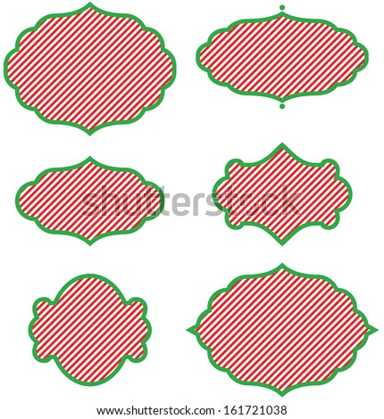 Set of Christmas Curly Frames - stock vector