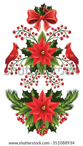 Set of Christmas decoration isolated on white. - stock vector