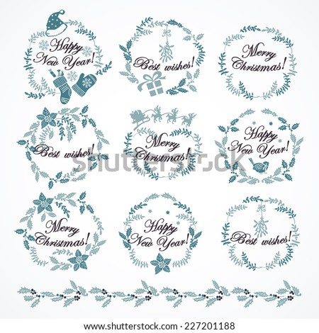 Set of Christmas decorations.  Hand drawing. Christmas wreaths in vintage style.  Elements for design of cards, invitations and other print projects. - stock vector