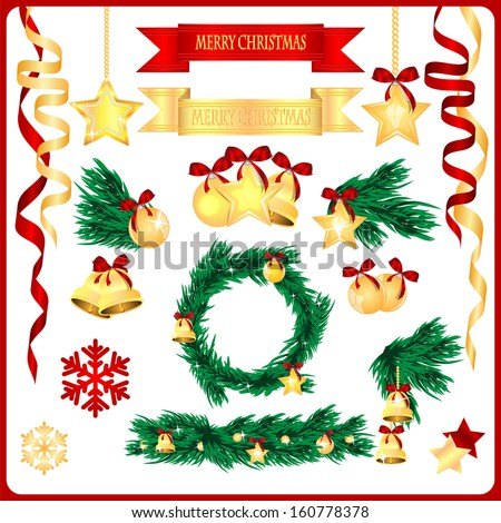 set of Christmas decorations isolated on white background.Gold and red tree ornaments.collection of New Year elements.vector - stock vector