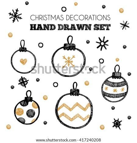 Set of Christmas decorations vector elements. Black and gold new year hand drawn set on white background with snowflakes - stock vector