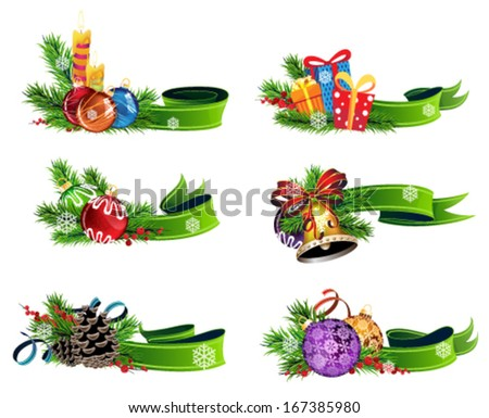 Set of Christmas decorations with green ribbons on white background - stock vector