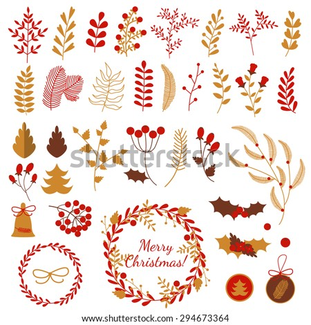 Set of Christmas decorative elements: pine, leaves, berries, toys and wreaths, in traditional colors: red, gold, brown - stock vector