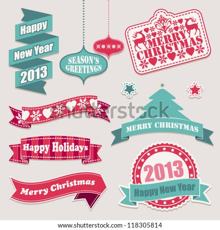 Set of Christmas design ribbons and labels. - stock vector