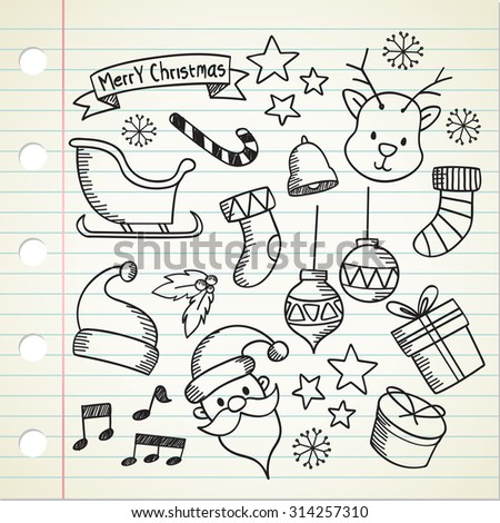 set of Christmas doodle - stock vector