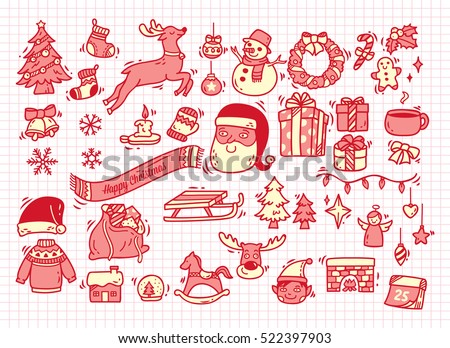 Set of Christmas doodle on paper background