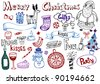 Set of Christmas doodle ornaments - stock vector