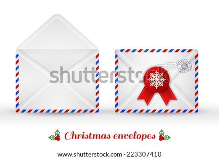 Set of Christmas envelopes. Vector illustration. Open and close envelope. Christmas mail icons. Isolated on white.