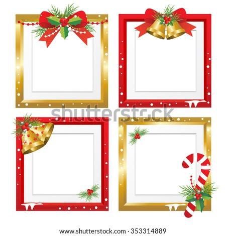 Set Christmas Framesvector Christmas Border Christmas Stock Vector ...