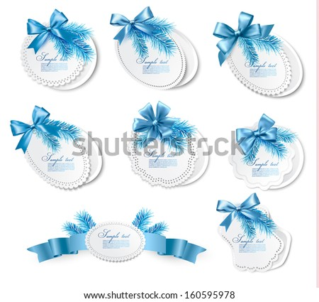Set of christmas gift cards with  blue gift bows with ribbons. Vector - stock vector