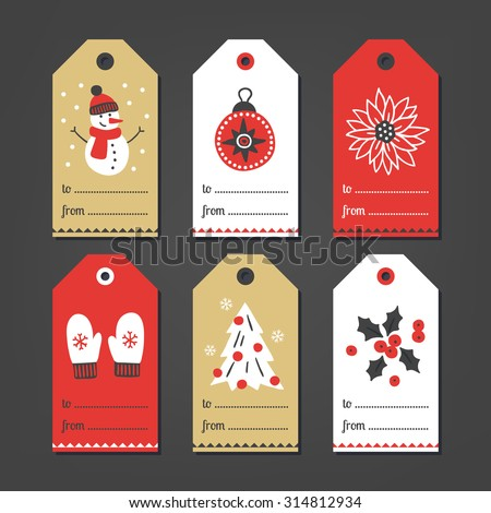 Set of Christmas Gift Tags with snowman, ball, flower, mittens, Christmas tree and poinsettia in White, Gold and Red. Perfect for holiday greetings - stock vector