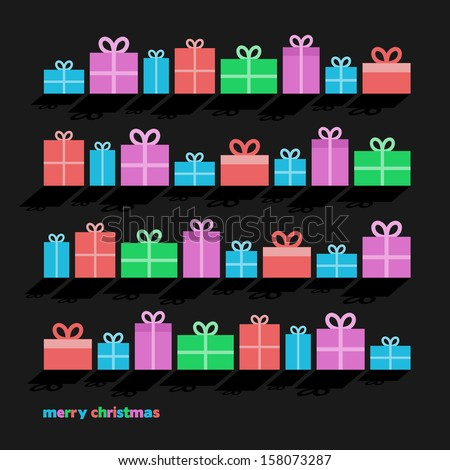 Set of Christmas gifts on a dark background, vector illustration