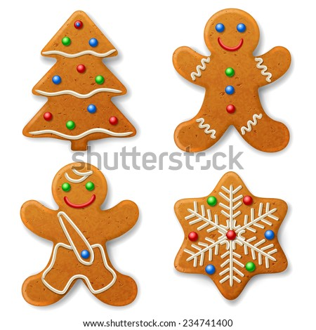 Set of Christmas gingerbread, decorated colored icing - stock vector