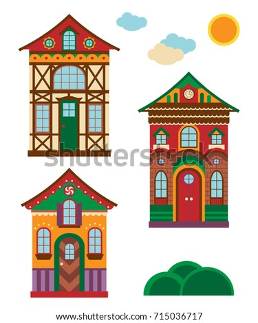 Set Of Christmas Gingerbread Houses Vector Illustration Isolated On White Background Flat Cartoon