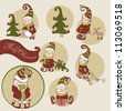 Set of Christmas Gnome - stock vector