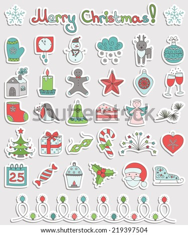 Set of Christmas hand-drawing icons. Vector illustration. - stock vector