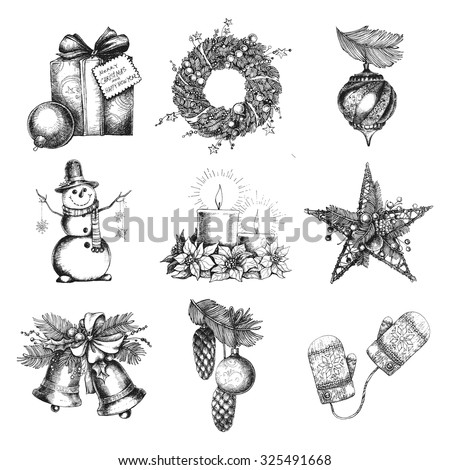 Set of Christmas Hand Drawn Holiday Objects. Sketch Christmas Decorations And Symbols. Vector illustration. - stock vector