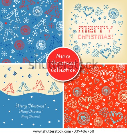 Set of Christmas holiday banners. Collection of Christmas cute elements, backgrounds, patterns - stock vector