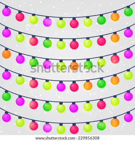 Set of Christmas Holiday String Lights Bulb. Vector Illustration - stock vector