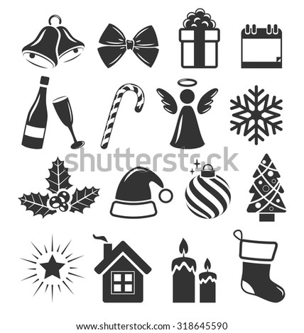 Set of Christmas Holidays Icons Pictograms Flat Black Isolated on White Background - stock vector