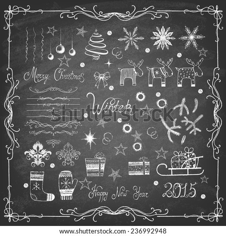 Set of Christmas icons and decorative elements on blackboard. Vector illustration.  - stock vector