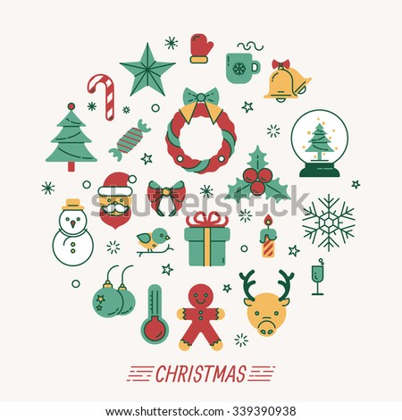 Set of christmas icons , eps10 vector format